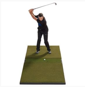 fiberbuilt launch monitor golf mat center hitting review - bestgolfsimulatorsforhomereviews.com