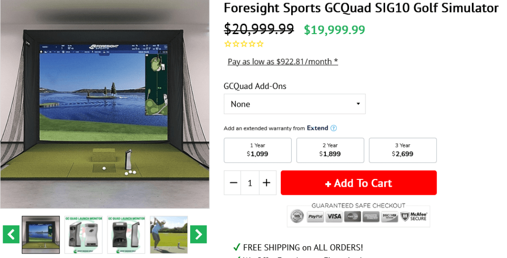 Foresight Sports GCQuad SIG10 Golf Simulator Package