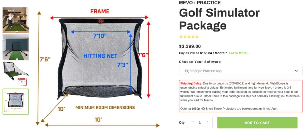 FlightScope Mevo Plus (Mevo+) Practice Golf Simulator Package